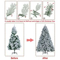 7.5ft Frosted Artificial Christmas Tree with Foldable Stand, Green