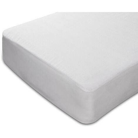 Sunlay - Protector de colchón de rizo 100% algodón impermeable 150x200cm , Cama de 150 , Blanco