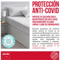 Pikolin Home - Protector de colchón antiviral impermeable y transpirable 150x200cm , Cama de 150 , Blanco