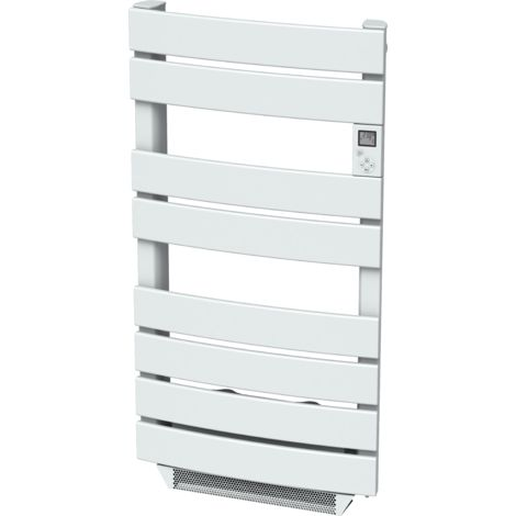Cayenne radiateur sÞche-serviette 600W + soufflerie 1000W (1600W) cintré lames plates blanc LCD - Blanc