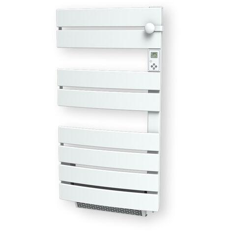 Cayenne radiateur sÞche-serviette 600W + soufflerie 1000W (1600W) lames plates ouverture latérale blanc LCD - Blanc