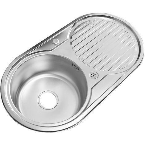 Fregadero de cocina Redondo encastrado Acero inoxidable 82CM redondo + bandeja con un seno Lavamanos empotrado Accesorios fregadero
