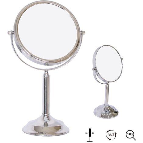 Espejo de maquillaje Espejo cosmético 10X Espejo de lupa Espejo de pared Espejo de aumento efecto lupa maquillar soporte chicas mujeres