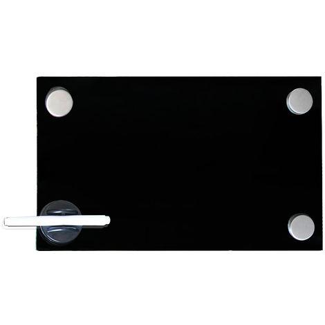 Pizarra magnética Pizarra de pared Pizarra para notas 30x50cm Negra Panel de vidrio Cristal para escribir para colgar organizar oficina