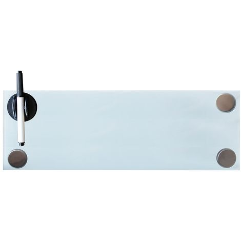 Pizarra magnética Pizarra de pared Pizarra para notas 60x20CM Blanco Panel de vidrio Cristal para escribir para colgar organizar oficina casa