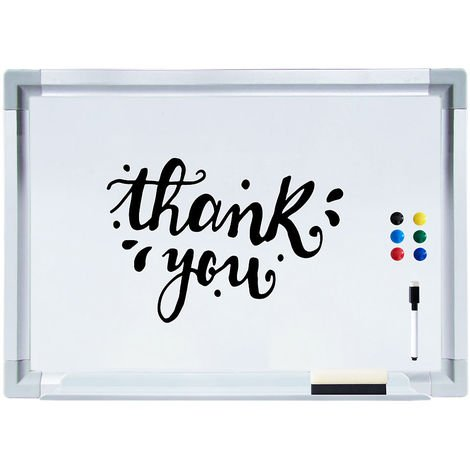 Pizarra magnética Pizarra de pared Pizarra para notas 60x40CM Blanco Panel de vidrio Cristal para escribir para colgar organizar oficina casa