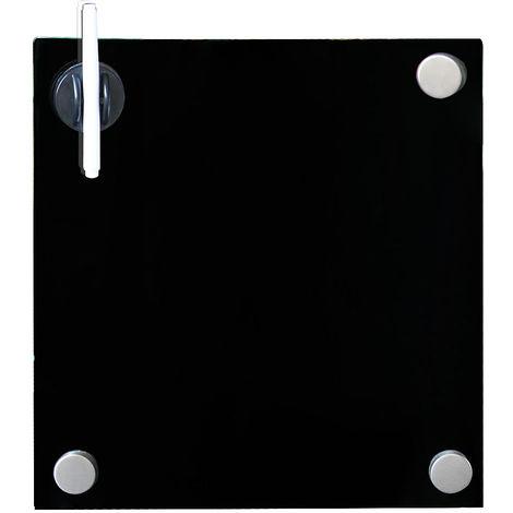 Pizarra magnética Pizarra de pared Pizarra para notas 45x50 Negro Panel de vidrio Cristal para escribir para colgar organizar oficina casa