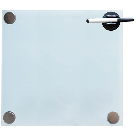 Pizarra magnética de vidrio Pizarra de pared Pizarra para notas 45x50CM Blanco Panel de vidrio Cristal para escribir para colgar organizar