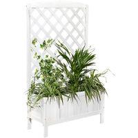 Macetero Madera Rejilla para Plantas Enrejado Blanco Soporte para plantas Jardinera Maceta espaldera Enrejado de rosas Jardín rectangular