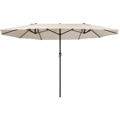 Zelsius Parasol | parasol double avec manivelle | 460x270 cm (crème)