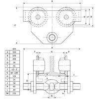 Trave carrello porta paranco carrello spinta 2 tonnellate 66-220 mm rullo fascio