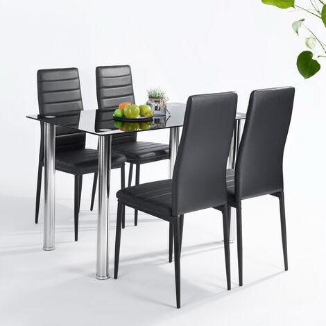 A9O0 Ensemble à manger - Table en verre + 4 chaises PVC - Noir