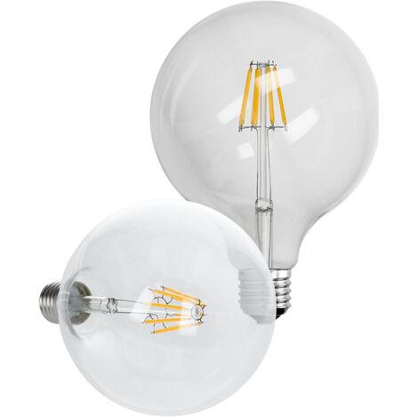 ECD Germany 4 x Bombilla LED Filamento E27 Edison 8W 125 mm 816 Lumen 120 ° Ángulo de haz AC 220-240V aproximadamente 45W Lámpara incandescente Blanco cálido Globelampe Globo luz de la lámpara