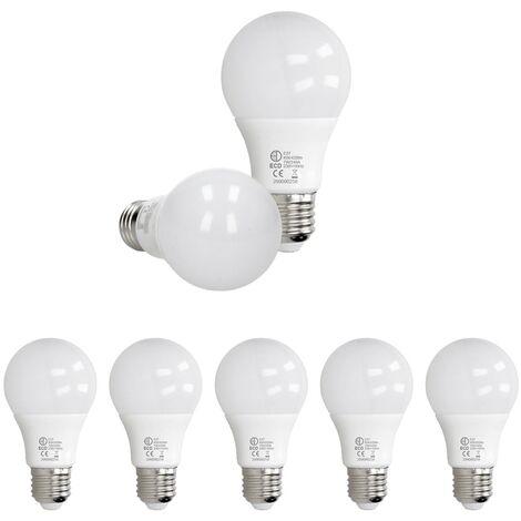 ECD Germany 5 x LED Bombilla globo LED 7W E27 - 6000 Kelvin - Ángulo de haz 270 ° - 420 lúmenes - Blanco frio - 220-240 V - EEK A + - Bombillas casquillo gordo[clase energética A+]