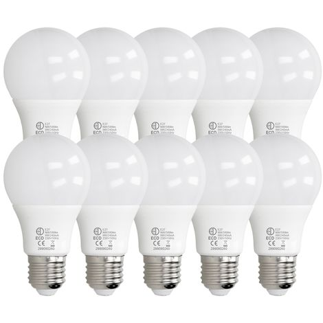 ECD Germany 10 x LED Bombilla globo LED 9W E27 - 4000 Kelvin - Ángulo de haz 270 ° - 589 lúmenes - Blanco neutro - 220-240 V - EEK A + - Bombillas casquillo gordo[clase energética A+]