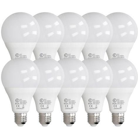 ECD Germany 10 x LED Bombilla globo LED 18W E27 - 6000 Kelvin - Ángulo de haz 270 ° - 1400 lúmenes - Blanco frio - 220-240 V - EEK A + - Bombillas casquillo gordo[clase energética A+]