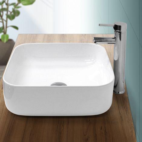 Lavabo cerámica moderno cuadrado pila lavamano común aseo baño blanco 390x390 mm