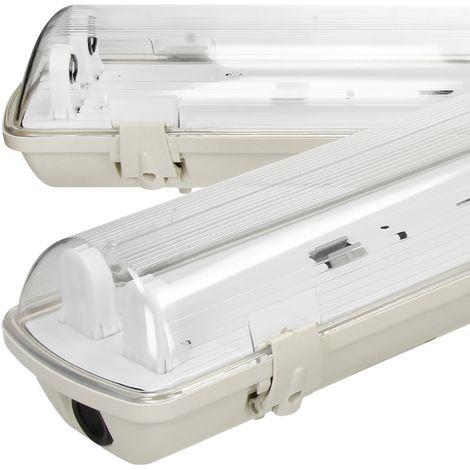 Portalámparas LED a prueba de humedad 2 tubos x 60 cm tubo bodega oficinas