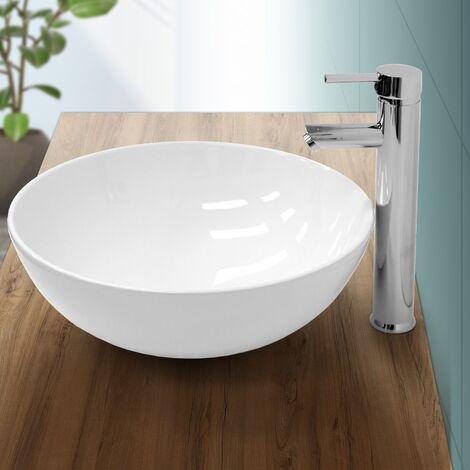 Lavabo redondo baño cerámica pila lavamanos sobre encimera aseo moderno Ø 400 mm