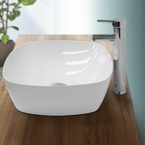Lavabo sobre encimera ovalado lavamanos ceramica blanca baño aseo 405 x 405 mm