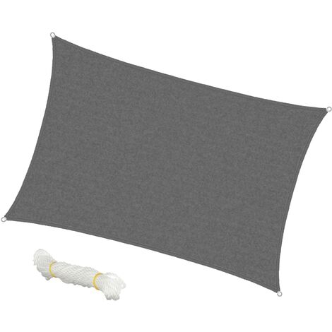 Vela de sombra protección solar lona cubieta patio rectangular 4x6m gris