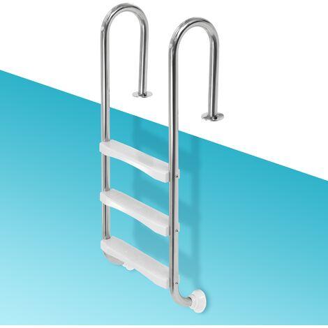 Escalera para piscina pool elevada con 3 peldaños acero redondo V2A pasamanos