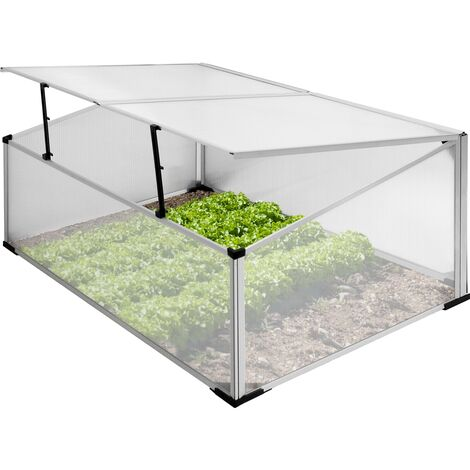 Invernadero de policarbonato marco frío de alumino huerto de jardín 100x60 cm
