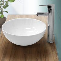 Lavabo redondo baño cerámica pila lavamanos sobre encimera aseo Ø 320 mm blanco
