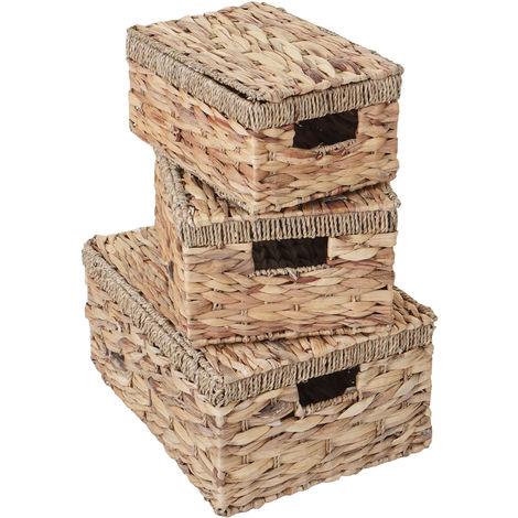 3er Set Aufbewahrungsbox HHG-209, Truhe Kiste Box mit Deckel, Wasserhyazinthe naturfarben