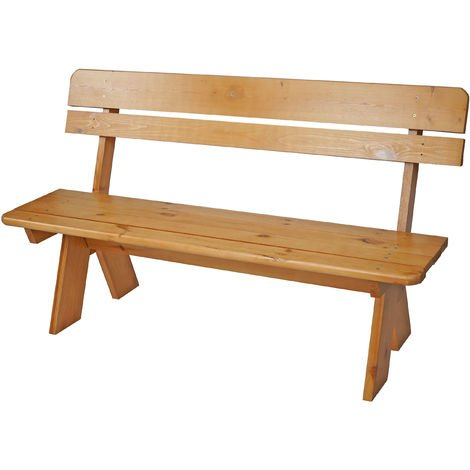 Gartenbank Kiefer Sitzbank honigbraun FSC Holzbank Holz Gartenmöbel 2-Sitzer