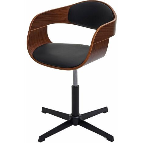 Bürostuhl HHG-496, Schreibtischstuhl, höhenverstellbar Drehmechanismus Bugholz ~ Walnuss-Optik, Kunstleder schwarz