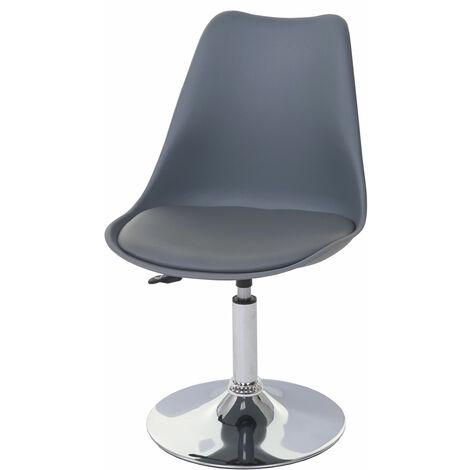 Drehstuhl Vaasa T501, Stuhl Küchenstuhl, höhenverstellbar, Kunstleder ~ dunkelgrau, Chromfuß