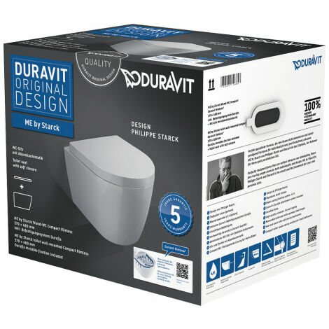 Ensemble Duravit ME by Starck WC compact à suspension murale Duravit Rimless- 45300900A1