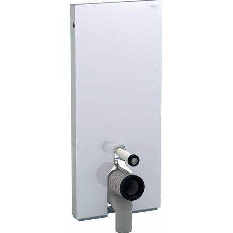 Module sanitaire monolithe Geberit pour WC sur pied, 114 cm, raccordement d'eau au milieu, avec coude de raccordement en P, Coloris: Verre Blanc - 131.033.SI.5