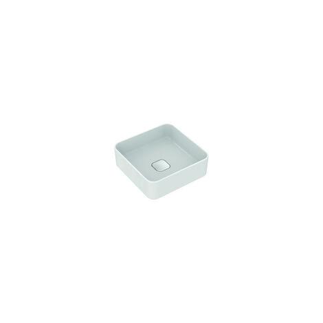 Ideal Standard   Strada II Lavabo à poser carré T2962, sans trou pour robinet, sans trop-plein, sans trop-plein, avec kit de fixation, 400x400 mm, Coloris: Blanc - T296201