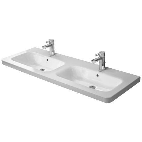 Duravit double lavabo DuraStyle 130x48 cm avec trop-plein, avec banquette pour robinet, 1 trou de robinet, Coloris: Blanc avec Wondergliss - 23381300001