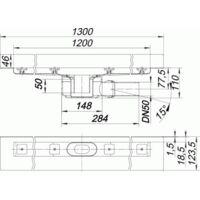 DALLMER caniveau de douche CeraLine W 1200mm, 520173, DN 50 Hauteur 110mm - 520173