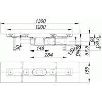 DALLMER caniveau de douche CeraLine PLAN F 1200mm, 523082, DN 50 Hauteur totale 90mm - 523082