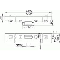 DALLMER caniveau de douche CeraLine Nano W 1200mm, 523396, DN 50 Hauteur 68mm - 523396