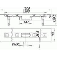 DALLMER caniveau de douche CeraLine Nano F 1200mm, 523792, DN 50 hauteur totale 68mm - 523792
