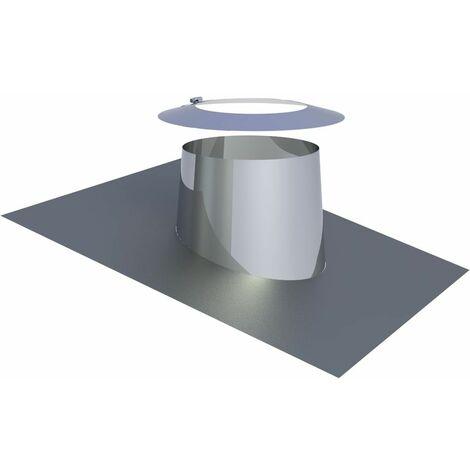 Solin de toit avec bord en plomb 5-15° Diam 200 mm inox