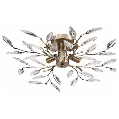 Modern Birch 4 Light Semi Flush Antique Brass Ceiling Light with Clear Leaves by Happy Homewares