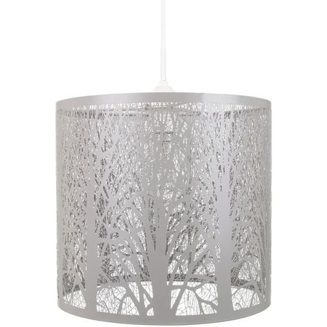 Unique and Beautiful Soft Grey Metal Forest Design Ceiling Pendant Shade by Happy Homewares