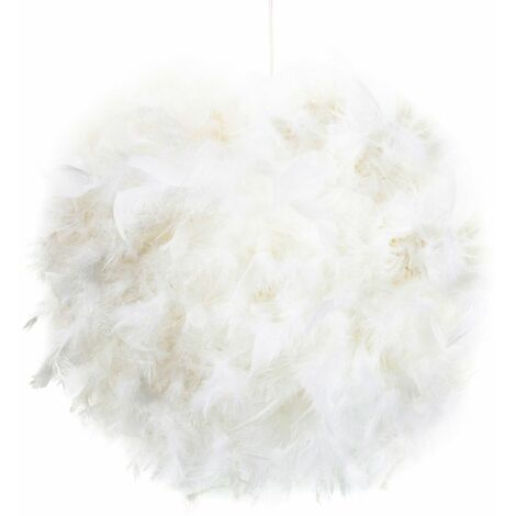 Contemporary and Unique Large White Real Feather Decorated Pendant Light Shade by Happy Homewares