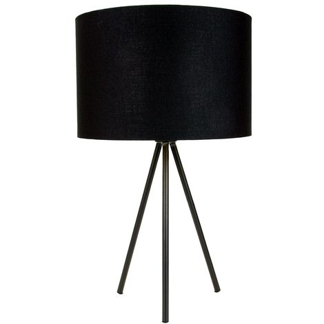 """Modern Matt Black Tripod Table Lamp with 12"""" Shade with Shiny Golden Inner by Happy Homewares"""