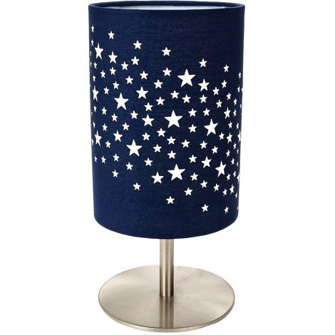 Beautiful Stars Decorated Children/Kids Midnight Blue Cotton Bedside Table Lamp by Happy Homewares