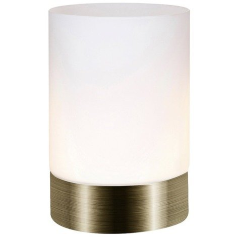 Small Antique Brass Touch Dimmable Table Lamp with Frosted Glass Shade by Happy Homewares