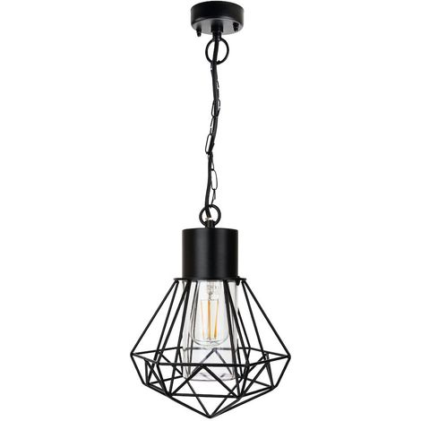 Modern and Trendy IP44 Outdoor Cage Hanging Light in Matt Black with Clear Shade by Happy Homewares