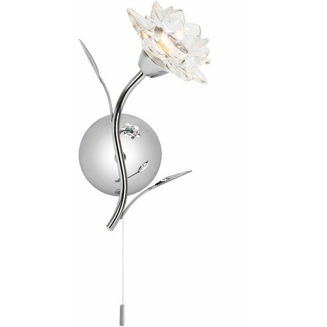 Designer Switched Polished Chrome Wall Light Fixture with Floral Glass Shade by Happy Homewares