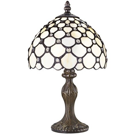 Traditional White Tiffany Table Lamp with Multiple Transparent Beads by Happy Homewares